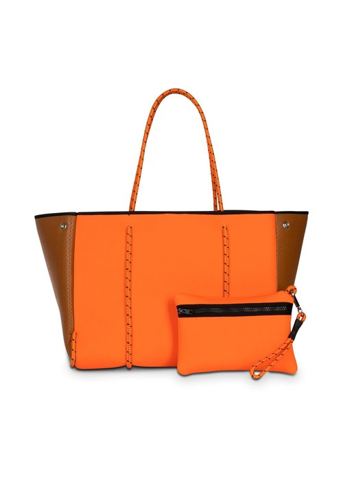 Haute Shore HS Greyson Tote-Paris-Neon Orange Center w/ Brown Coated Perforated Sides/Brown Lining