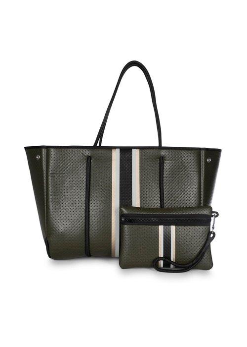 Haute Shore HS Greyson Tote-ENVY-Olive Coated/Rosegold/Beige/Black Stripe/Green Camo Lining