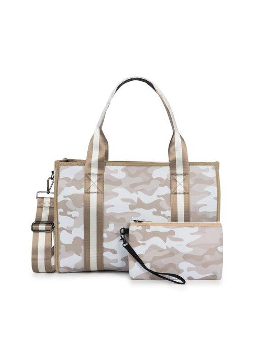 Haute Shore HS Isla Tote-SAHARA-Beige Camo/White & Rosegold Stripe. Striped Strap