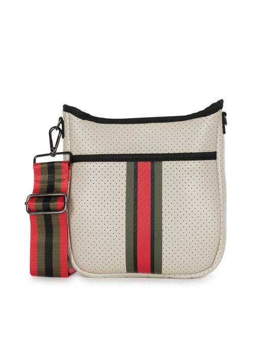 Haute Shore HS Blake Crossbody-ROMA- Beige Coated/Olive Black Red Stripe, Straps Black/Olive Black