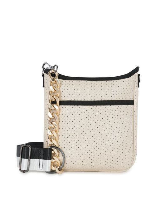 Haute Shore HS Jeri Crossbody-LADY Beige Coated/Beige Camo Strap and Black White Strap with Gold Chai