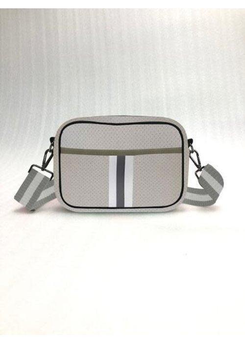 Haute Shore HS Drew Crossbody Bag- CRUISE - Putty/White & Charcoal Stripe/White Charcoal Striped Strap