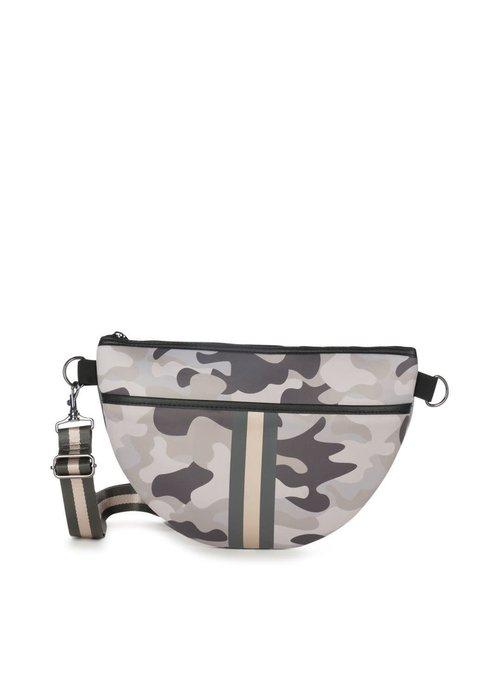 Haute Shore HS Brett Belt Bag - SAFARI - Taupe Camo/Charcoal Rosegold Stripe