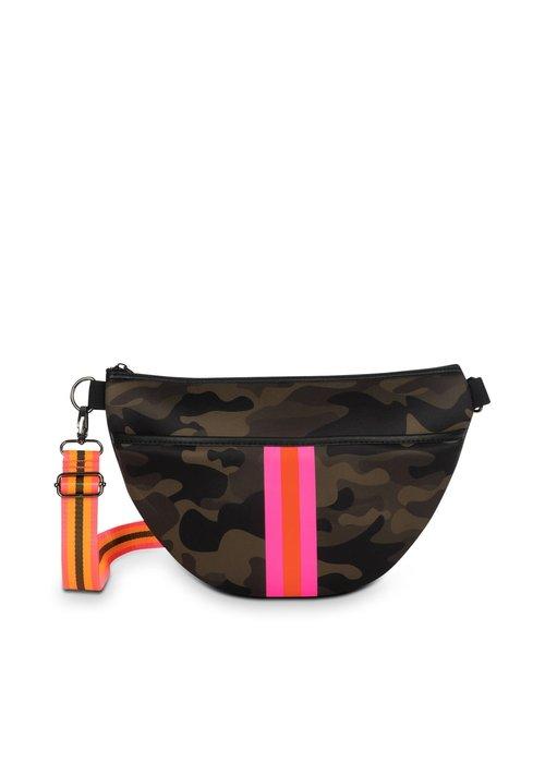 Haute Shore HS Brett Balt Bag- SHOWOFF - Green Camo/Pink Orange Stripe/Pink Orange Olive Striped Strap