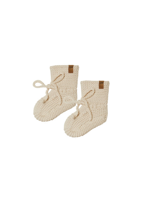 Quincy Mae QM Knit Booties-Natural