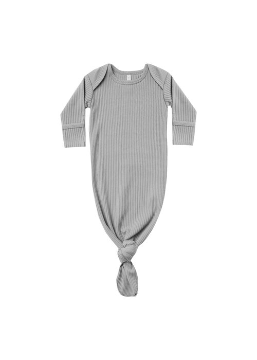 Quincy Mae QM Dusty Blue Ribbed Knotted Baby Gown