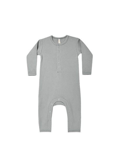 Quincy Mae QM Ribbed Dusty Blue Jumpsuit
