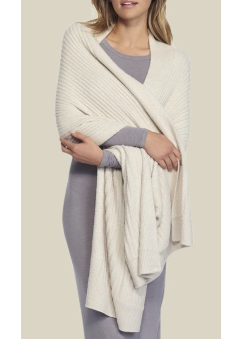 Barefoot Dreams BFD Heathered Travel Shawl in Bisque