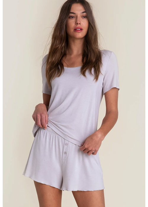 Barefoot Dreams BFD Luxe Milk Jersey Scoop Neck Short Set in Oyster