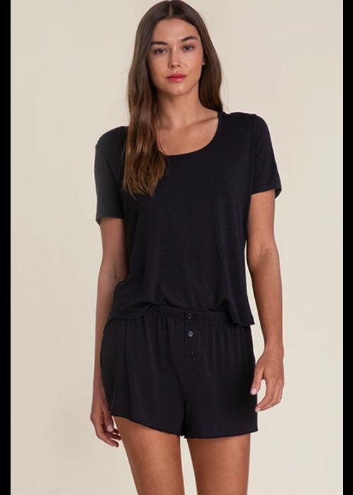 Barefoot Dreams BFD Luxe Milk Jersey Scoop Neck Short Set in Black