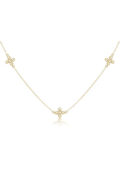 "E Newton EN 15"" Choker Simplicity Chain Gold- Signature Beaded Cross Gold"
