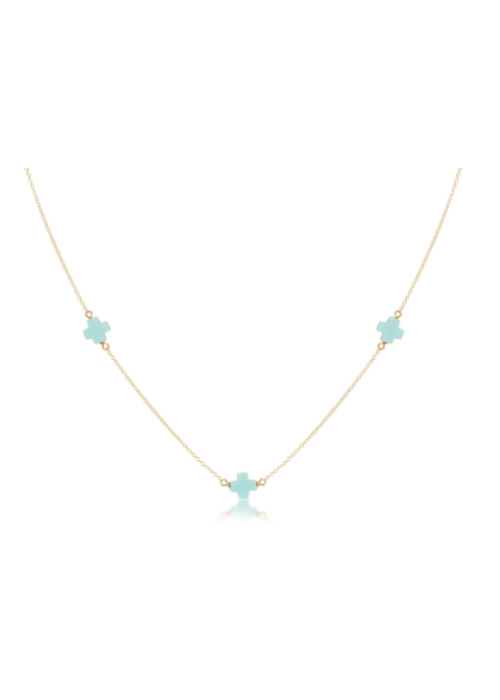 "E Newton EN 15"" Choker Simplicity Chain Gold- Signature Cross Turquoise"