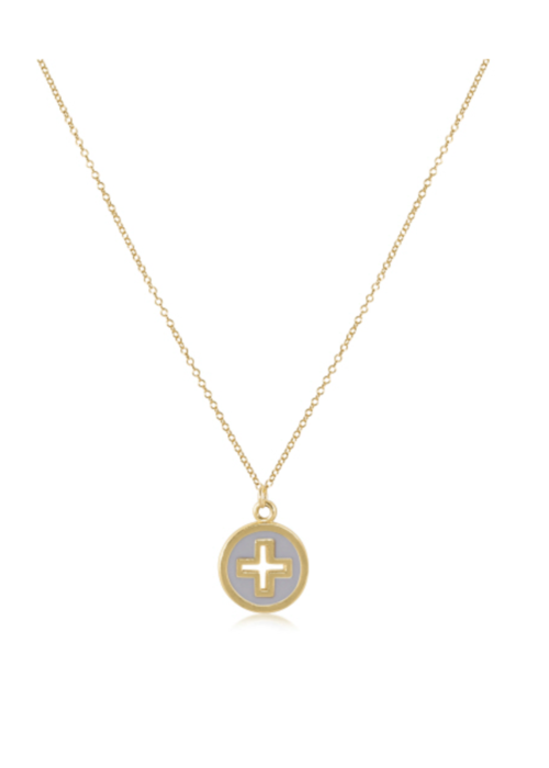 """E Newton EN 16"""" Necklace Gold - Cross Gold Disc Off White"""