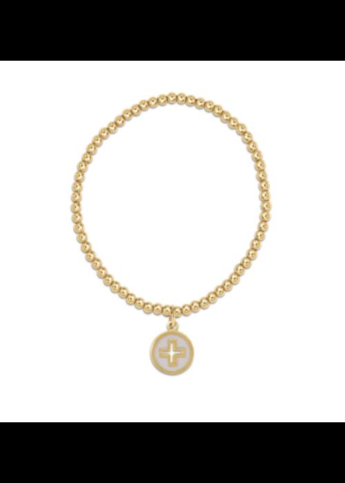 E Newton EN Classic Gold 3mm Bead Bracelet Cross Gold Disc/Off White