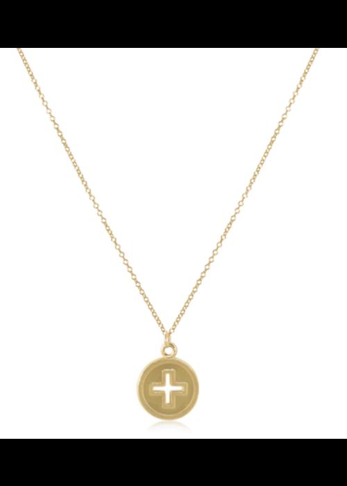 """E Newton EN 16"""" Necklace Gold- Cross Gold Disc"""