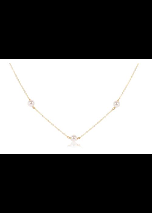 "E Newton EN 15"" Choker Simplicity Chain Gold - 6mm Pearl"
