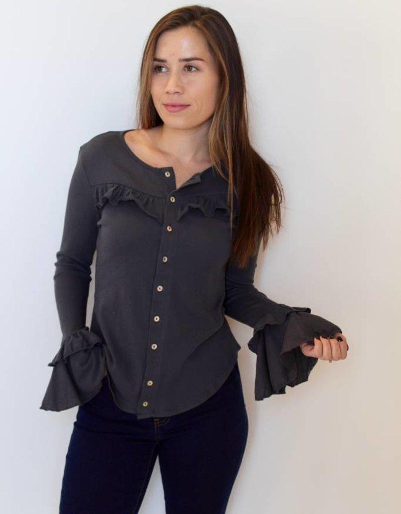 Chaser: Ruffle Button Down Shirt