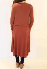 Day To Night Button Down Duster- Rust