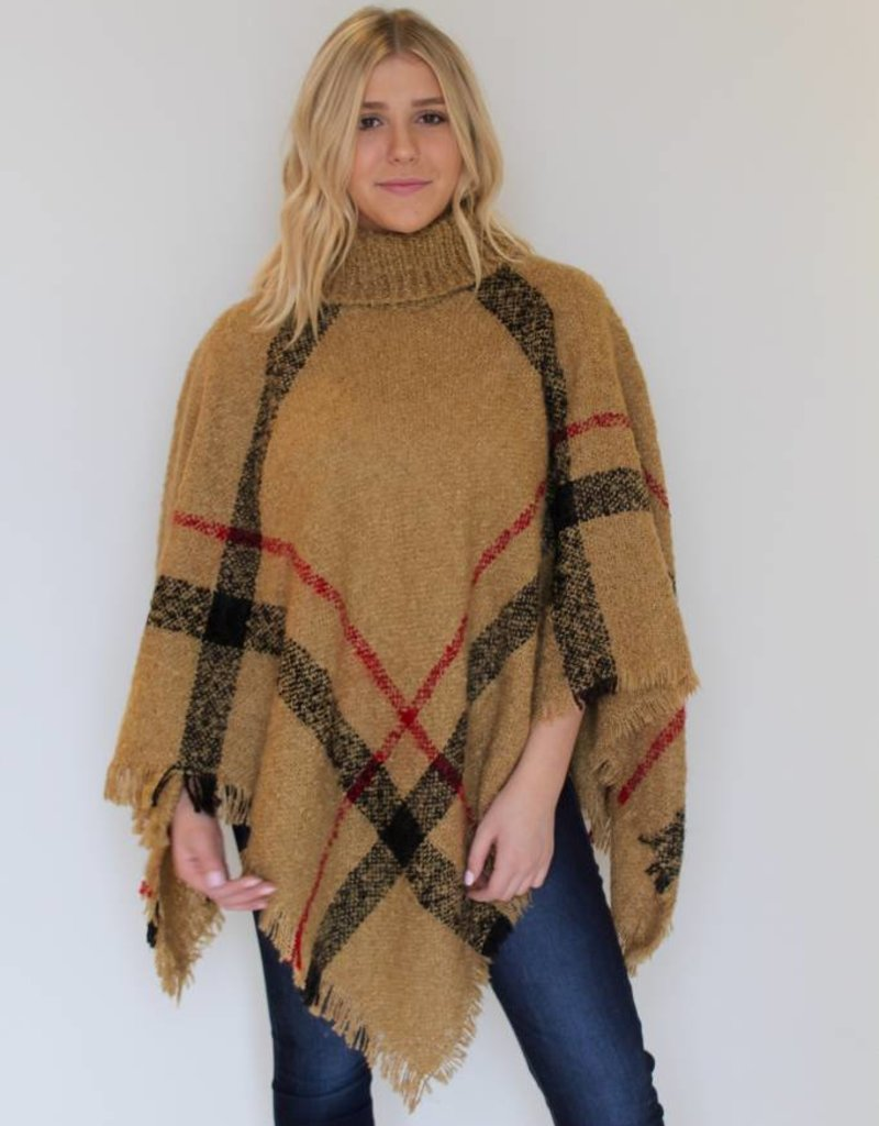Cozy in Plaid Fringe Poncho