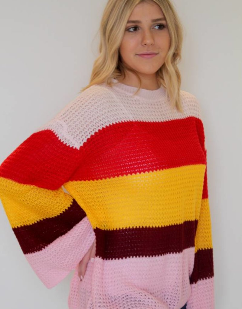 Pretty in Pink Stripe Color Block Sweater