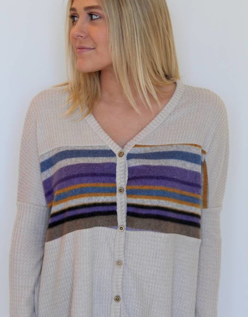 Around The World Stripe Waffle Button Down Thermal