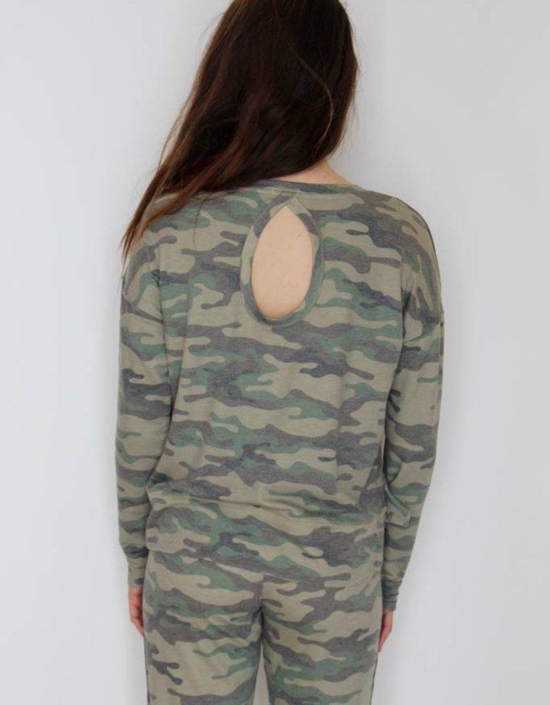P.J. Salvage: Camo Open Back Sweatshirt