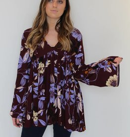 Free People: Bella Printed Tunic - Wine Combo