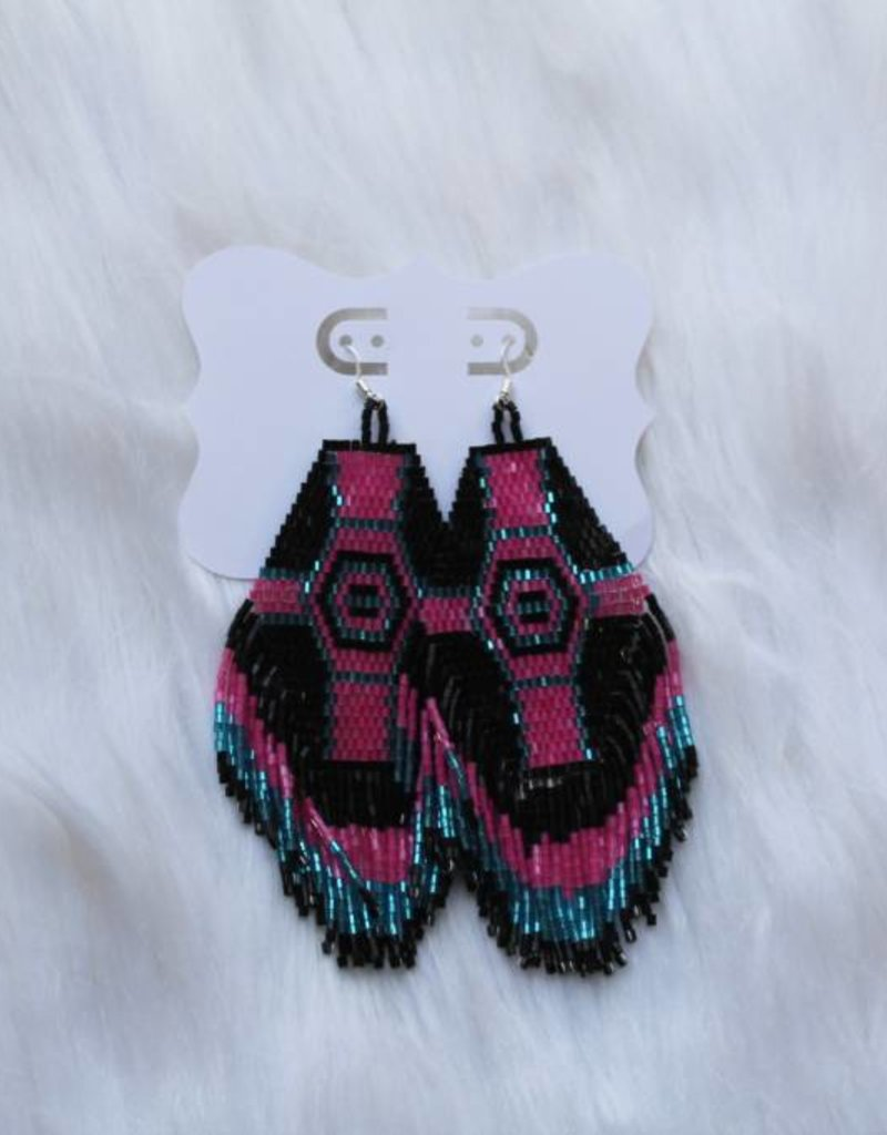 Sandra Claire: Large Beaded Tribal Earrings