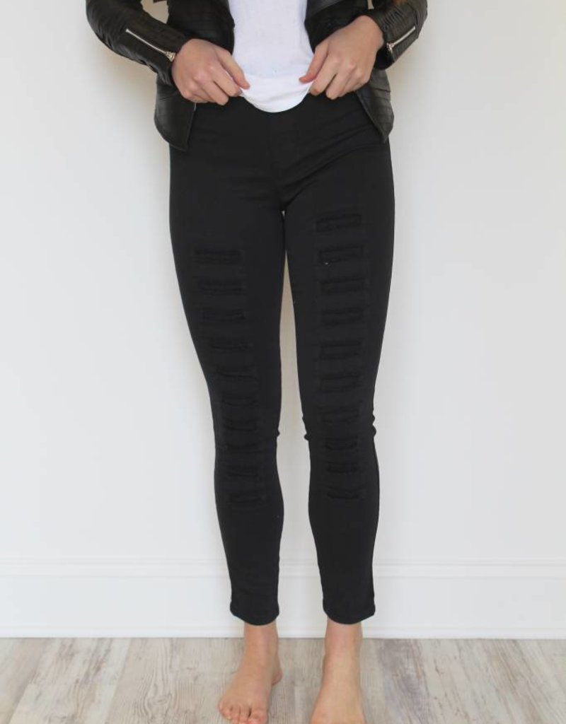 High Waisted Distressed Leggings