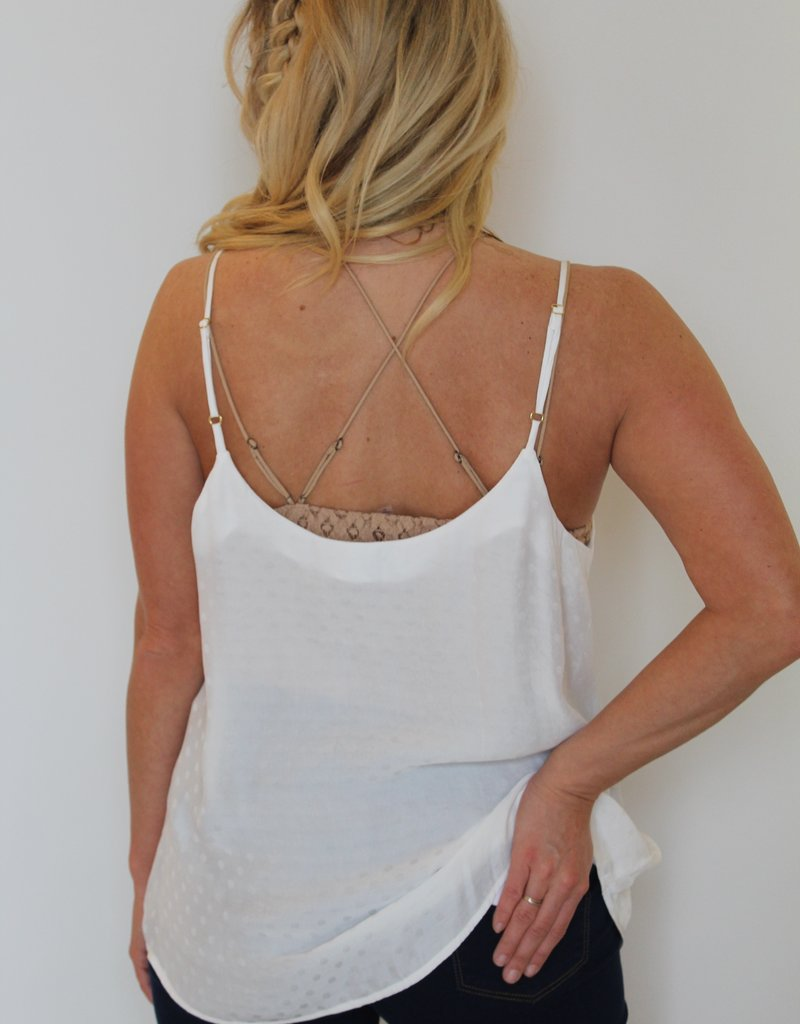 Show Me Your Mumu: Cammys Cami - White Silky Dots