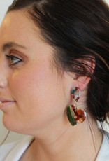 Rainbow Tortoise Dangle Heart Earrings