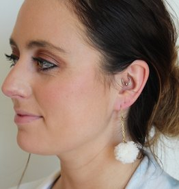 Ivory Dangle Pom Pom Earrings