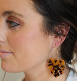 Tortoise Dangle Leaf Earrings