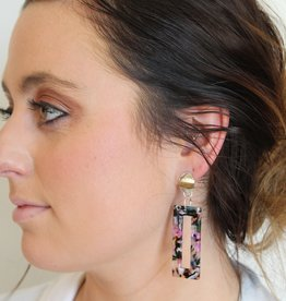 Floral Multi Rectangle Resin Earrings