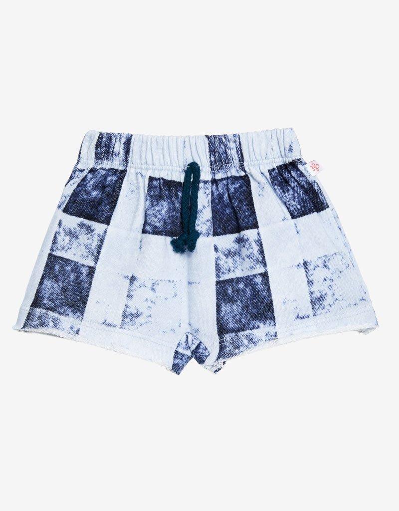 Posh Peanut: Denim Plaid Terry Shorts and Bodysuit Set