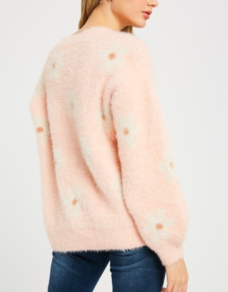 Floral Frenzy Fuzzy Sweater