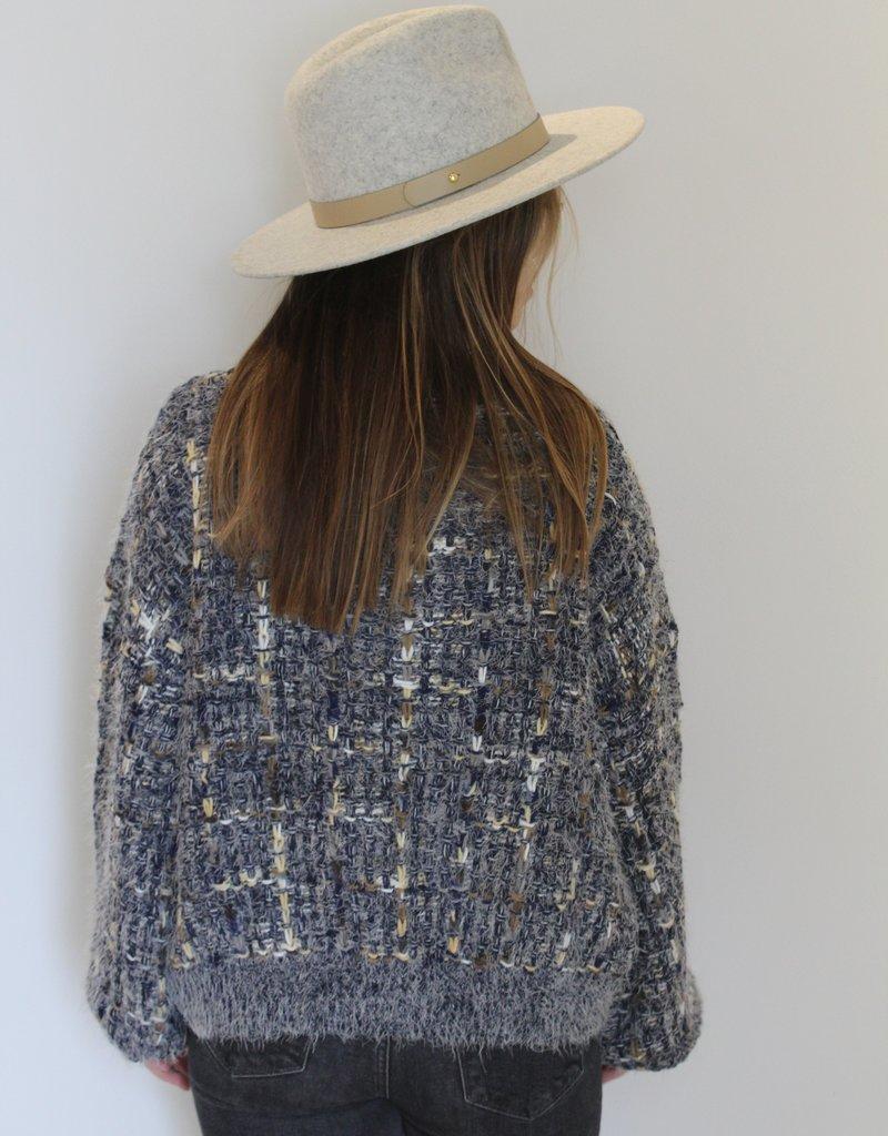 Textured V-Neck Pullover Sweater