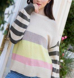 thml Stripe Sleeve Color Block Sweater