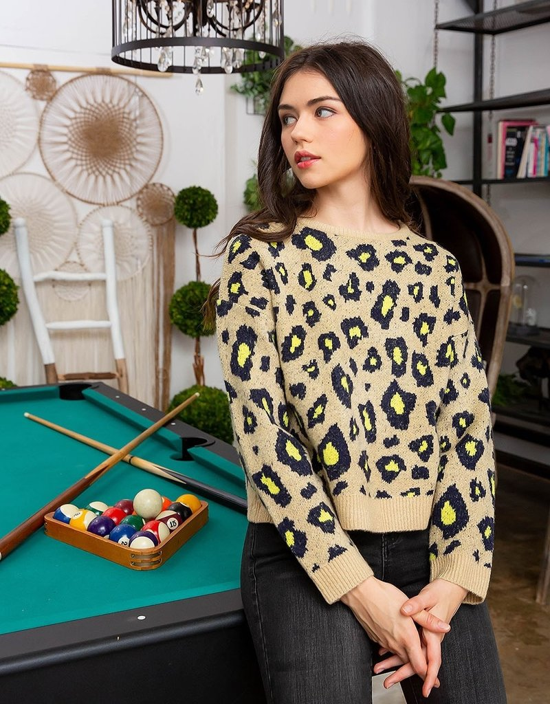 thml Neon Leopard Printed Sweater