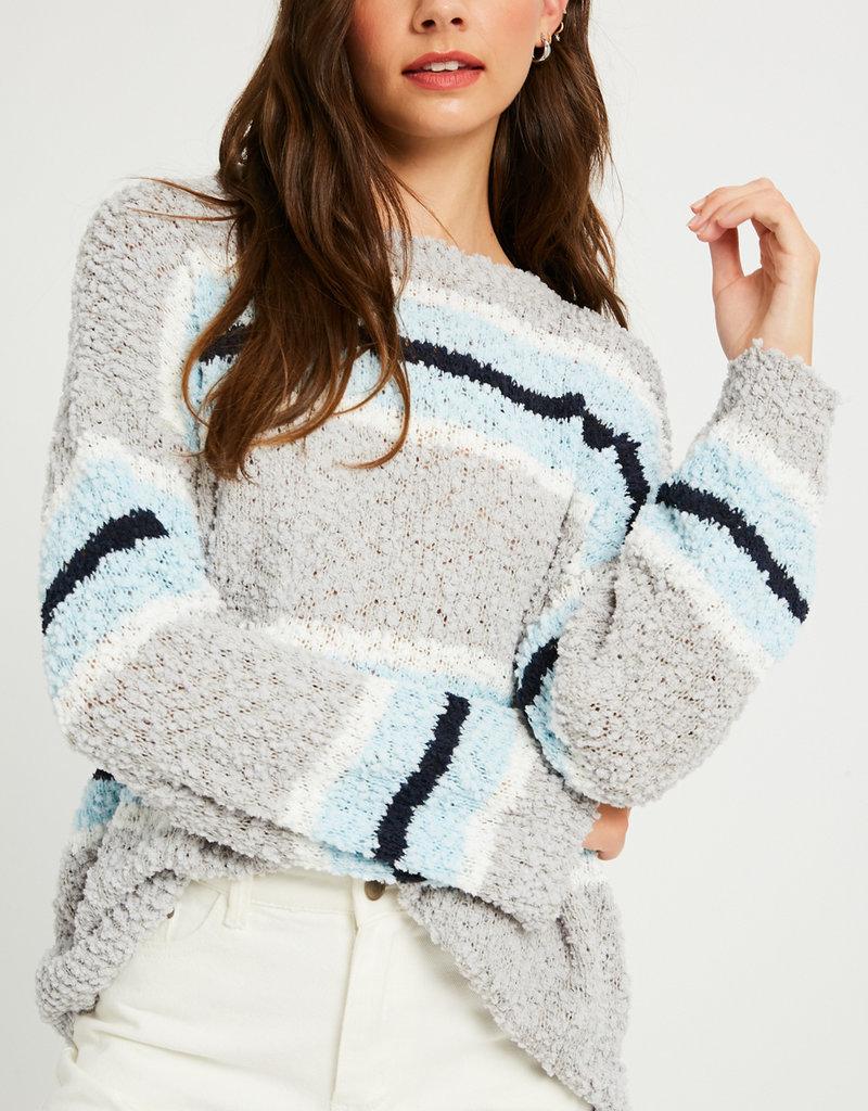 Listicle Striped Popcorn Sweater