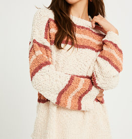 Listicle Striped Popcorn Sweater