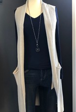 LONG OPEN SWEATER VEST WITH POCKETS