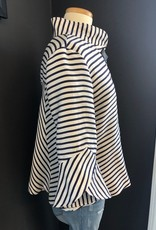 JOSEPH RIBKOFF STRIPED JACKET WITH LARGE BUTTONS