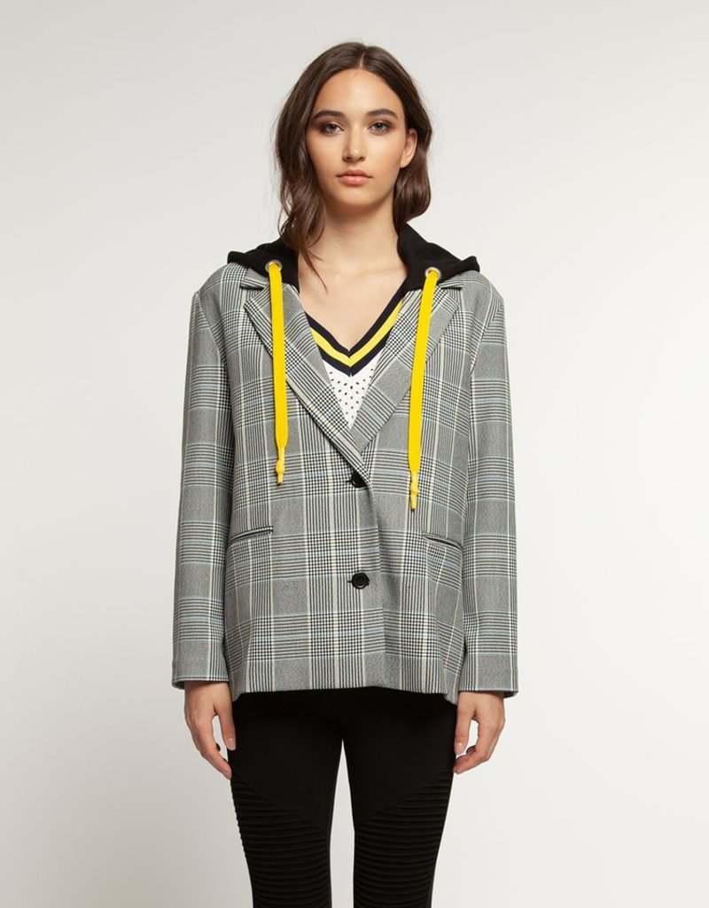 HOODED BLAZER WITH CONTRAST DRAWCORD