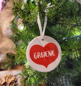 Gruene Big Red Heart Ceramic Ornament