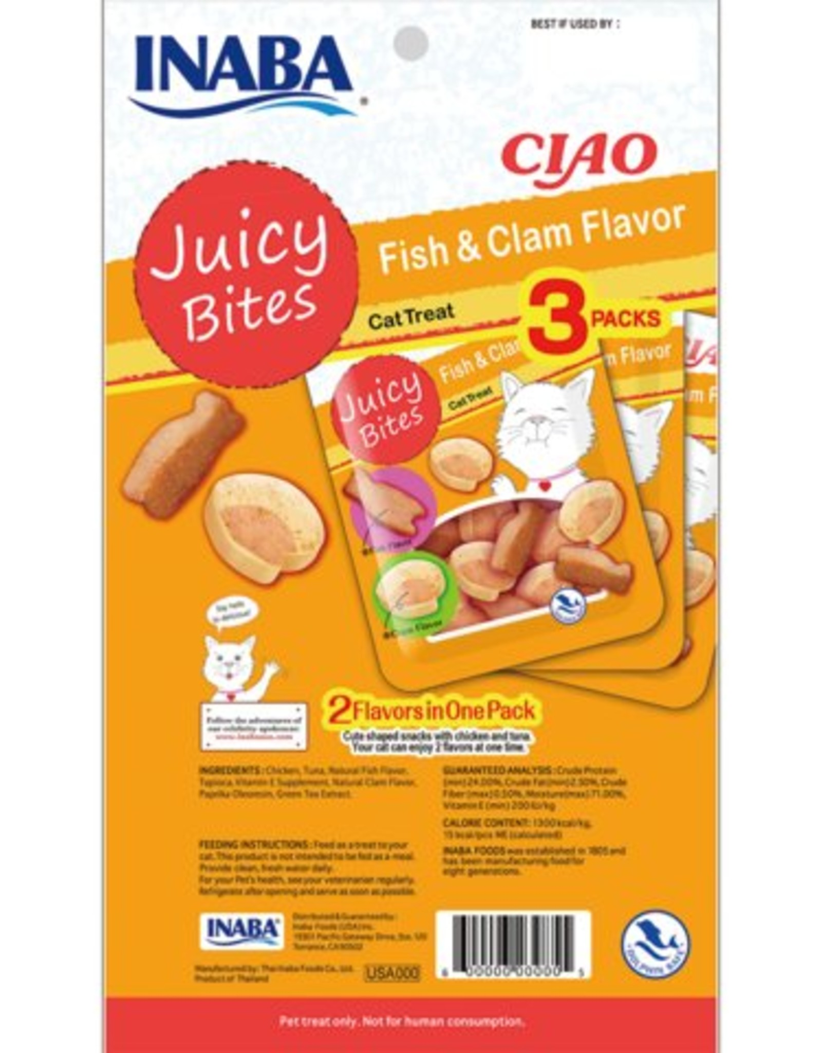 Inaba Ciao Cat Treats Ciao Cat Juicy Bites Fish & Clam Flavor Treat