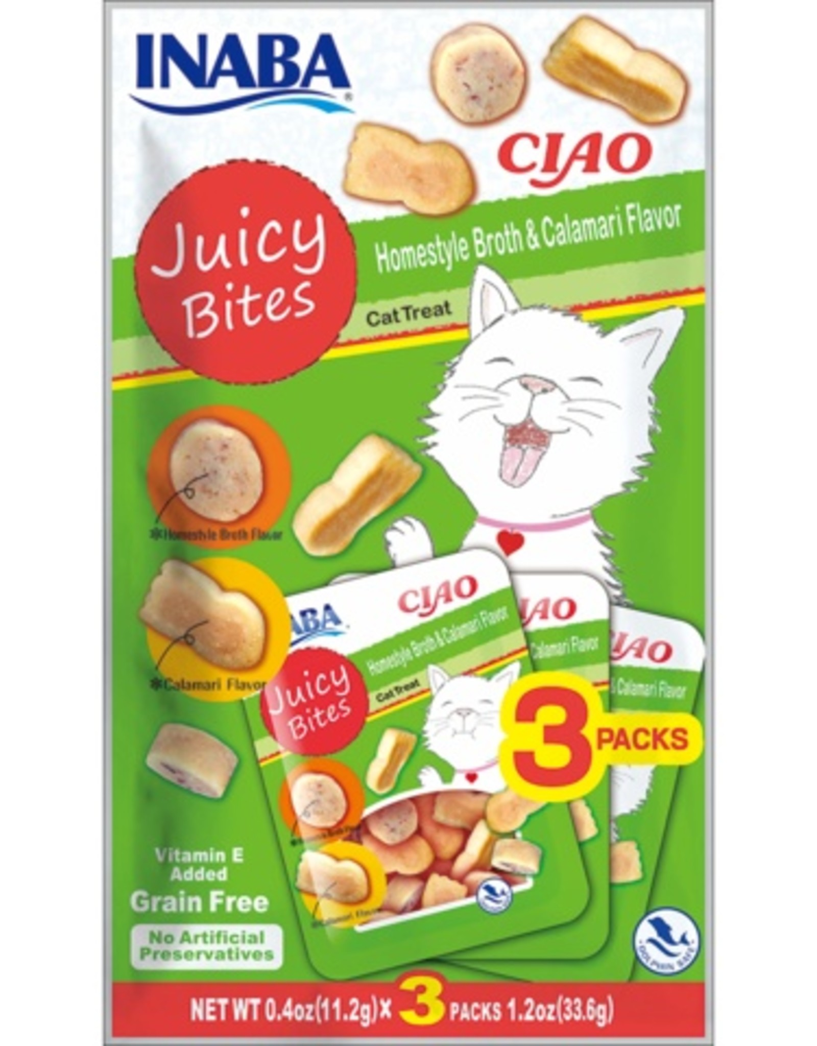 Inaba Ciao Cat Treats Ciao Cat Juicy Bites Homestyle & Calamari Flavor Treat