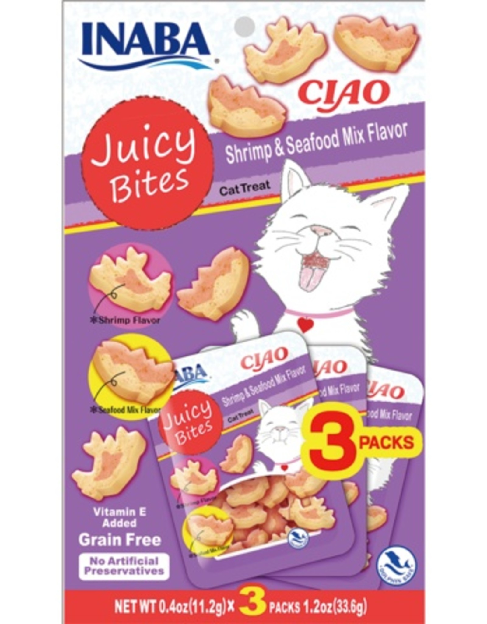 Inaba Ciao Cat Treats Ciao Cat Juicy Bites Shrimp & Seafood Flavor Treat