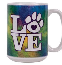 Dog Speak Dog Speak Big Coffee Mug 15oz - Tie Dye LOVE