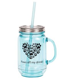 Dog Speak Dog Speak Mason Jar 20oz - Paws Off My Drink!